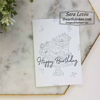 Happy Birthday card, no layer. Shop for Stampin Up with Sara Levin at theartfulinker.com