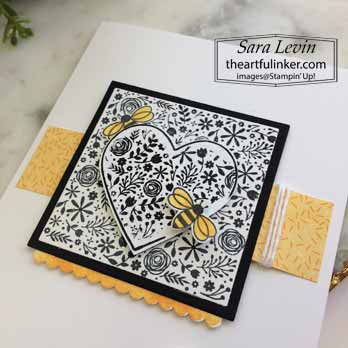 A Paper Pumpkin Thing Blog Hop I'll Bee Yours black and white alternative card, detail. Shop for Stampin Up with Sara Levin at theartfulinker.com