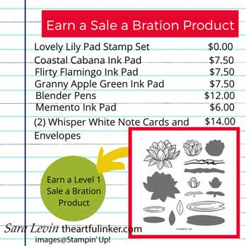 Earn the Lovely Lily Pad stamp set with this combination of products. Shop for Stampin Up with Sara Levin at theartfulinker.com