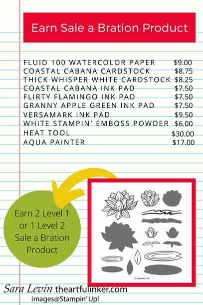Earn Lovely Lily Pad or Lily Pad Dies with this combination of products. Shop for Stampin Up with Sara Levin at theartfulinker.com