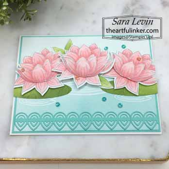 Lovely Lily Pad avid card, angled view, for Stamping Sunday Blog Hop Sale a Bration 2020. Shop for Stampin Up with Sara Levin at theartfulinker.com