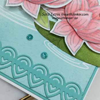 Lovely Lily Pad avid card, detail, for Stamping Sunday Blog Hop Sale a Bration 2020. Shop for Stampin Up with Sara Levin at theartfulinker.com