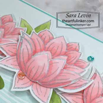 Lovely Lily Pad avid card, waterlily detail, for Stamping Sunday Blog Hop Sale a Bration 2020. Shop for Stampin Up with Sara Levin at theartfulinker.com