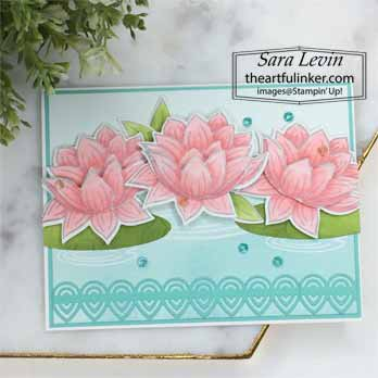 Lovely Lily Pad avid card for Stamping Sunday Blog Hop Sale a Bration 2020. Shop for Stampin Up with Sara Levin at theartfulinker.com