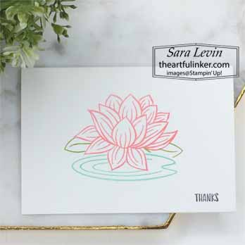 Lovely Lily Pad no layer, simple staming card for Stamping Sunday Blog Hop Sale a Bration 2020. Shop for Stampin Up with Sara Levin at theartfulinker.com