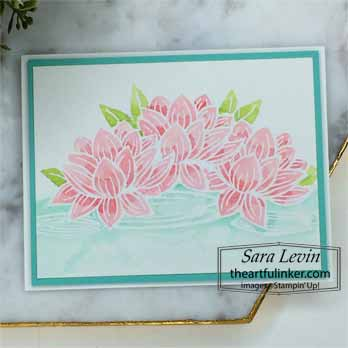 Lovely Lily Pad watercolor card for Stamping Sunday Blog Hop Sale a Bration 2020. Shop for Stampin Up with Sara Levin at theartfulinker.com