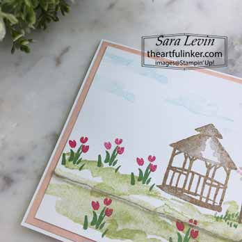 Stampin Up My Meadow gazebo card, detail. Shop for Stampin Up with Sara Levin at theartfulinker.com