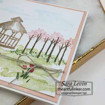 Stampin Up My Meadow gazebo card, tree detail. Shop for Stampin Up with Sara Levin at theartfulinker.com