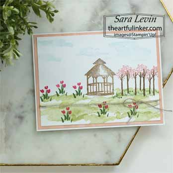 Stampin Up My Meadow card with gazebo. Shop for Stampin Up with Sara Levin at theartfulinker.com