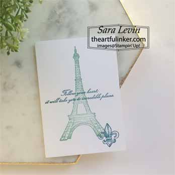 Parisian Beauty No Layer Card. Shop for Stampin Up with Sara Levin at theartfulinker.com