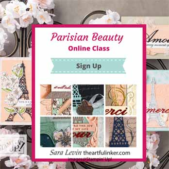 Parisian Beauty Online Class. Shop for Stampin Up with Sara Levin theartfulinker.com