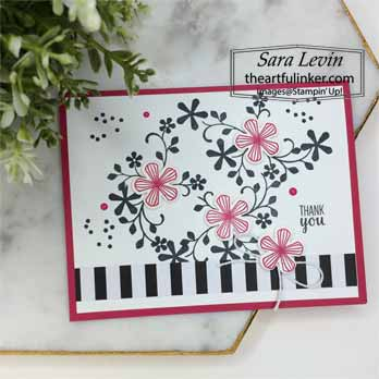 Thoughtful Blooms Black and White with a Pop. Shop for Stampin Up with Sara Levin at theartfulinker.com