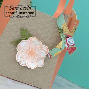 Timeless Tropical Beach Tote Favor detail, for OSAT Blog Hop Purses Poppies and Paris. Shop for Stampin Up with Sara Levin at theartfulinker.com