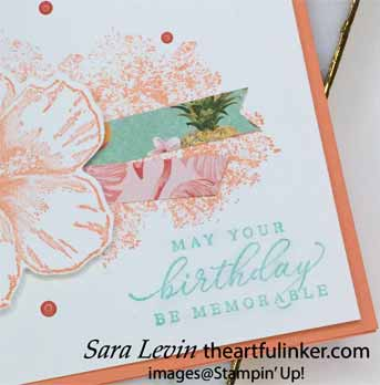 Timeless Tropical Birthday card, sentiment detail, for OSAT Blog Hop Purses Poppies and Paris. Shop for Stampin Up with Sara Levin at theartfulinker.com