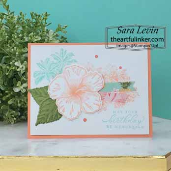 Timeless Tropical Birthday card for OSAT Blog Hop Purses Poppies and Paris. Shop for Stampin Up with Sara Levin at theartfulinker.com
