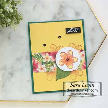 Timeless Tropical Swap Card. Shop for Stampin' Up! with Sara Levin at theartfulinker.com