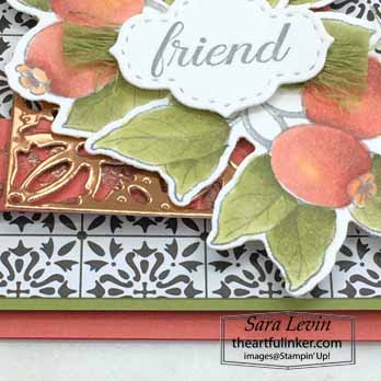 Botanical Prints Medley card for Creation Station Blog Hop Goes Full Monty, copper detail. Shop for Stampin Up with Sara Levin at theartfulinker.com