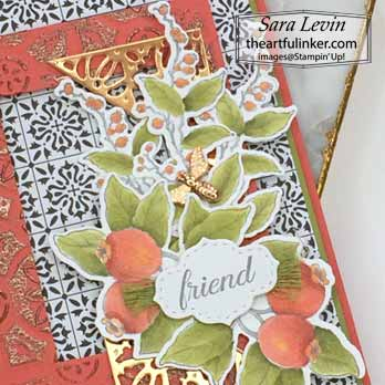 Botanical Prints Medley card for Creation Station Blog Hop Goes Full Monty, layering detail. Shop for Stampin Up with Sara Levin at theartfulinker.com