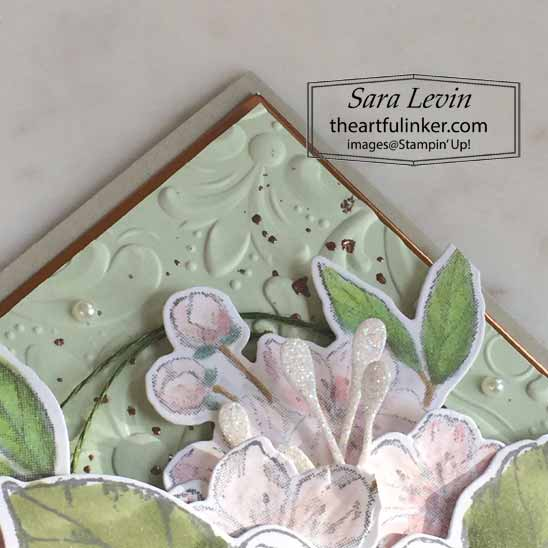 Good Morning Magnolia Forever Blossoms card, detail, for TheSpotChallenges100. Shop for Stampin Up with Sara Levin at theartfulinker.com
