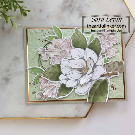 Good Morning Magnolia Forever Blossoms card for TheSpotChallenges100. Shop for Stampin Up with Sara Levin at theartfulinker.com