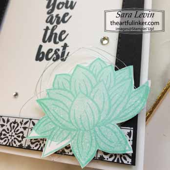 Lovely Lily Pad with a Big Thank You, detail, for Creating Kindness Blog Hop Lovely Lily Pad. Shop for Stampin Up with Sara Levin at theartfulinker.com