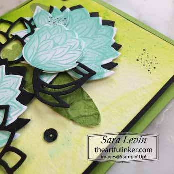 Lovely Lily Pad with Pigment Sprinkles, detail, for Creating Kindness Blog Hop Lovely Lily Pad. Shop for Stampin Up with Sara Levin at theartfulinker.com