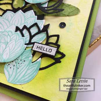 Lovely Lily Pad with Pigment Sprinkles, sentiment detail, for Creating Kindness Blog Hop Lovely Lily Pad. Shop for Stampin Up with Sara Levin at theartfulinker.com