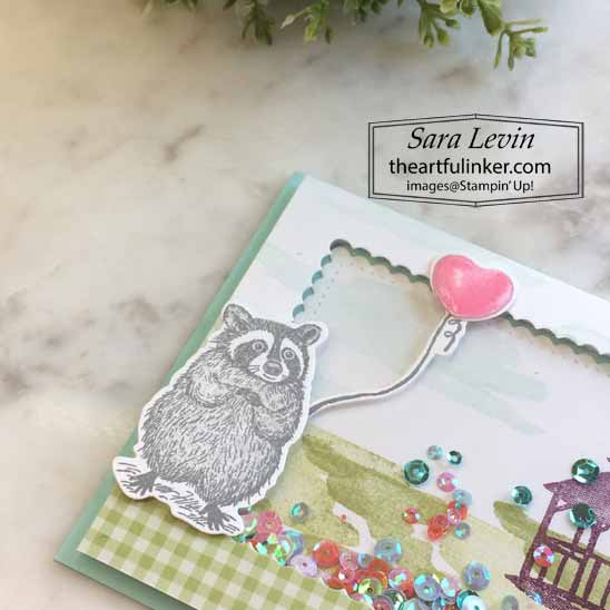 Special Someone My Meadow Shaker Card, racoon detail.  Shop for Stampin Up with Sara Levin at theartfulinker.com