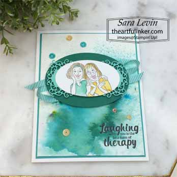 Young at Heart with Softened Blends card, angled view. Shop for Stampin Up with Sara Levin at theartfulinker.com
