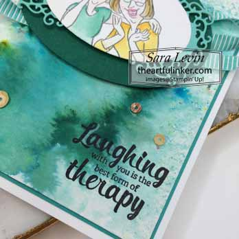 Young at Heart with Softened Blends card, sentiment detail. Shop for Stampin Up with Sara Levin at theartfulinker.com
