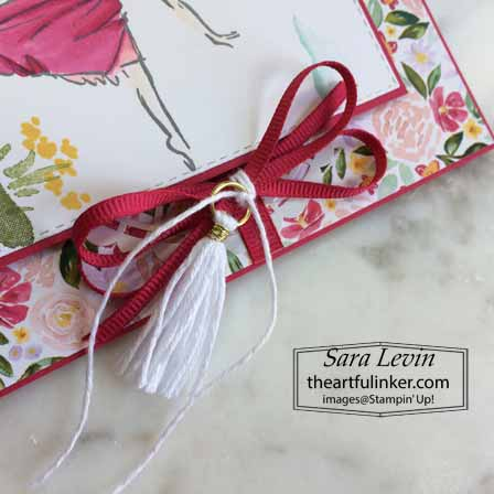 Stampin Up Beatuiful You Around the Corner card, embellishment detail. Shop for Stampin Up with Sara Levin at theartfulinker.com