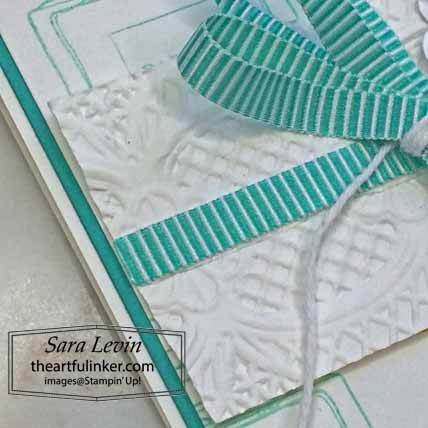 Stampin Up Dressed to Impress Hello Fabulous card, lace embossing detail, for Stamping Sunday Blog Hop Mini Annual Favorites. Shop for Stampin Up with Sara Levin at theartfulinker.com