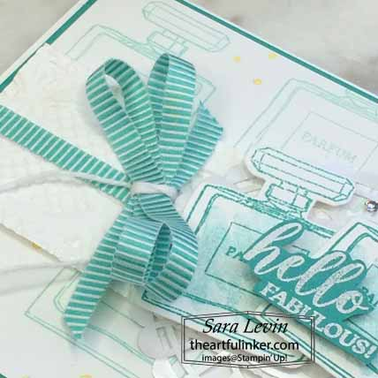 Stampin Up Dressed to Impress Hello Fabulous card, ribbon detail, for Stamping Sunday Blog Hop Mini Annual Favorites. Shop for Stampin Up with Sara Levin at theartfulinker.com