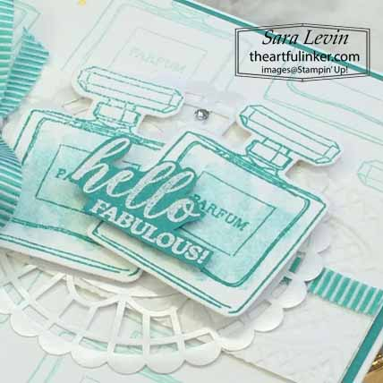 Stampin Up Dressed to Impress Hello Fabulous card, sentiment detail, for Stamping Sunday Blog Hop Mini Annual Favorites. Shop for Stampin Up with Sara Levin at theartfulinker.com