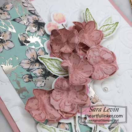 Forever Blossoms Kwanzan Cherry card with video, cherry blossoms detail. Shop for Stampin Up with Sara Levin at theartfulinker.com