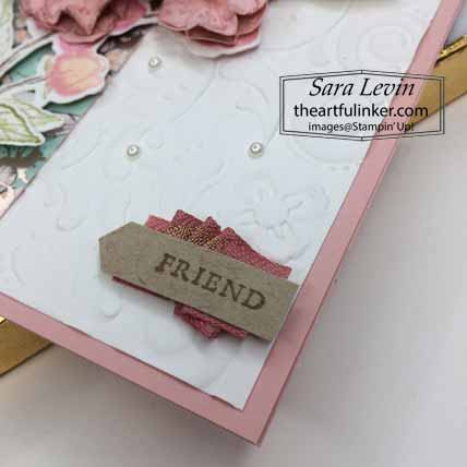 Forever Blossoms Kwanzan Cherry card, sentiment detail. Shop for Stampin Up with Sara Levin at theartfulinker.com