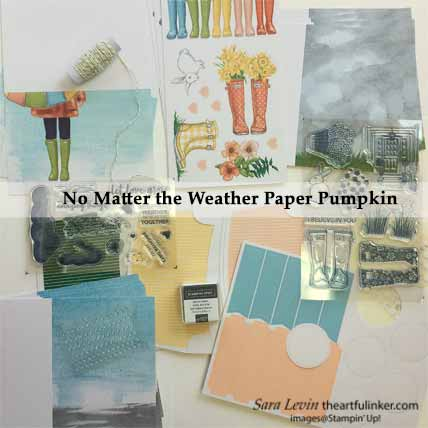 No Matter the Weather March 2020 Paper Pumpkin Kit contents for A Paper Pumpkin Thing Blog Hop No Matter the Weather. Shop for Stampin Up with Sara Levin at theartfulinker.com