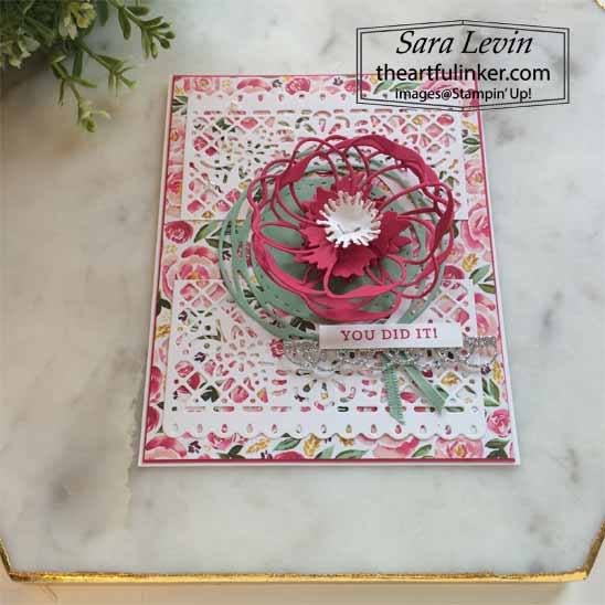Stampin Up Best Dressed and Poppy Moments Card, jubilee beauty dies detail.  Shop for Stampin Up with Sara Levin at theartfulinker.com