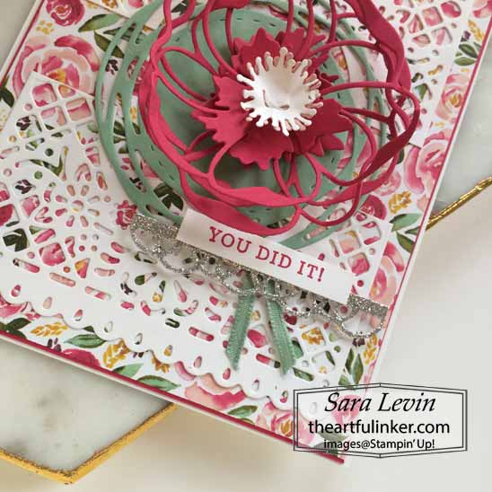 Stampin Up Best Dressed and Poppy Moments Card, sentiment detail.  Shop for Stampin Up with Sara Levin at theartfulinker.com