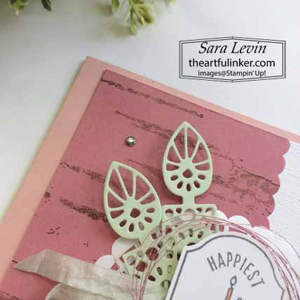 Time for Tags TSCC103 birthday card, Doily Wishes dies detail. Shop for Stampin Up with Sara Levin at theartfulinker.com