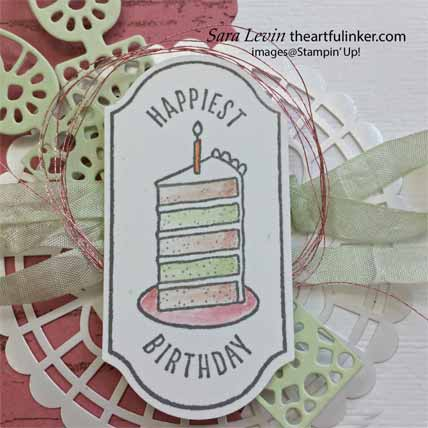 Time for Tags TSCC103 birthday card, birthday tag detail. Shop for Stampin Up with Sara Levin at theartfulinker.com