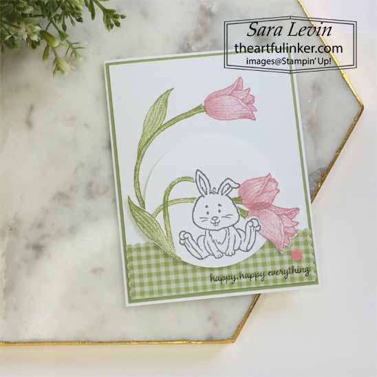 Welcome Easter with Timeless Tulips card for OSAT Blog Hop Chick Ewe Out. Shop for Stampin Up with Sara Levin at theartfulinker.com