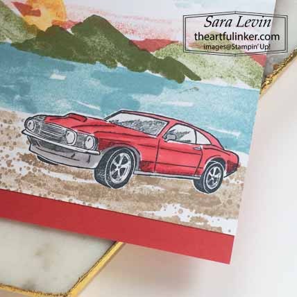 Stampin Up Geared Up Garage with Waterfront stampscape masculine card, detail, for Stamping Sunday Blog Hop Make It Masculine. Shop for Stampin Up with Sara Levin at theartfulinker.com
