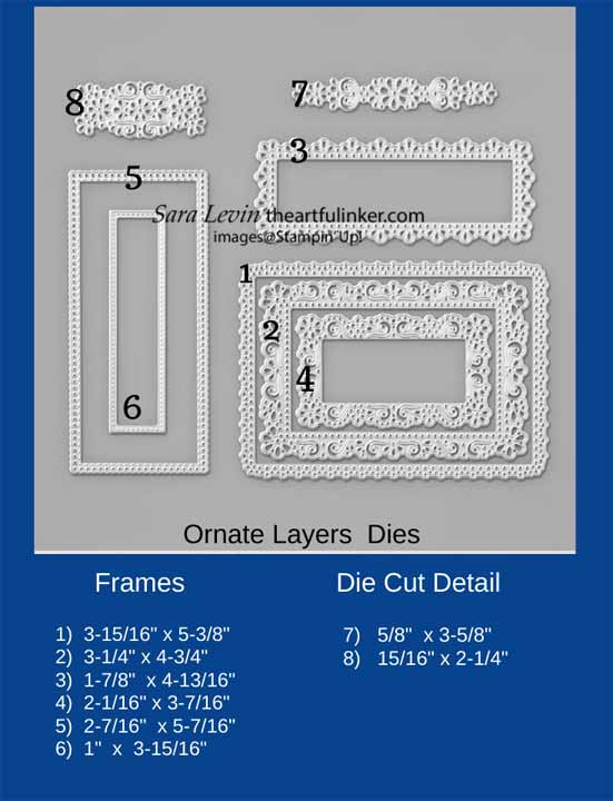Stampin Up Ornate Layers Dies Size Chart. Shop for Stampin Up with Sara Levin at theartfulinker.com