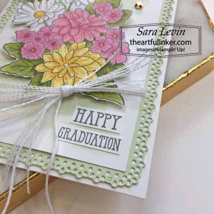 Stampin Up Ornate Style Graduation Card, sentiment detail, for OSAT Blog Hop Celebrate. Shop for Stampin Up with Sara Levin at theartfulinker.com