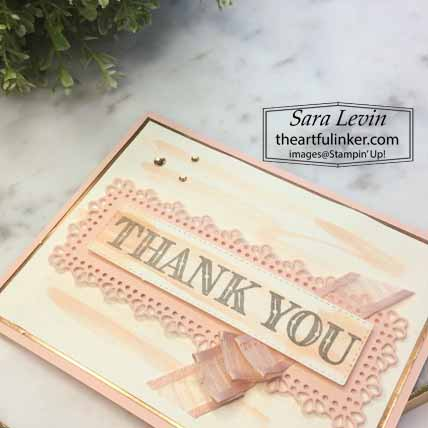 Ornate Thanks simple thank you, sentiment detail, for The Spot Creative Challenge 106. Shop for Stampin Up with Sara Levin at theartfulinker.com