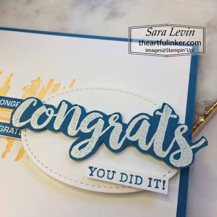 Stampin Up Seriously The Best Graduation Card, sentiment detail, for Stamping Sunday Blog Hop Celebrate. Shop for Stampin Up with Sara Levin theartfulinker.com