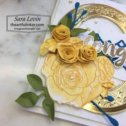 Stampin Up Seriously the Best Christmas Rose graduation card, flower detail. Shop for Stampin Up with Sara Levin at theartfulinker.com