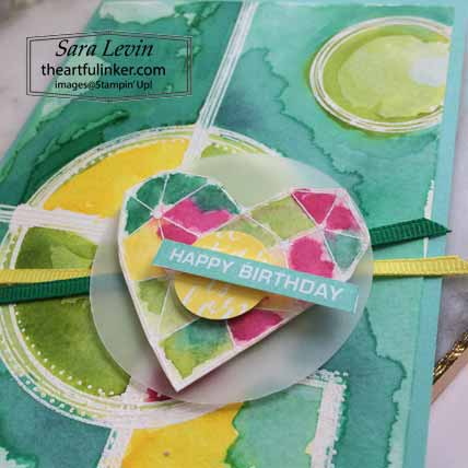 Stampin Up Swirly Frames Label Me Bold birthday card detail for The Spot Creative Challenge 107.  Shop for Stampin Up with Sara Levin at theartfulinker.com