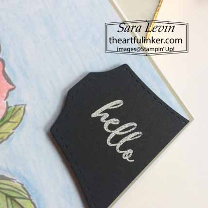 Stampin Up Watercolor To A Wild Rose Card, sentiment detail. Shop for Stampin Up with Sara levin at theartfulinker.com